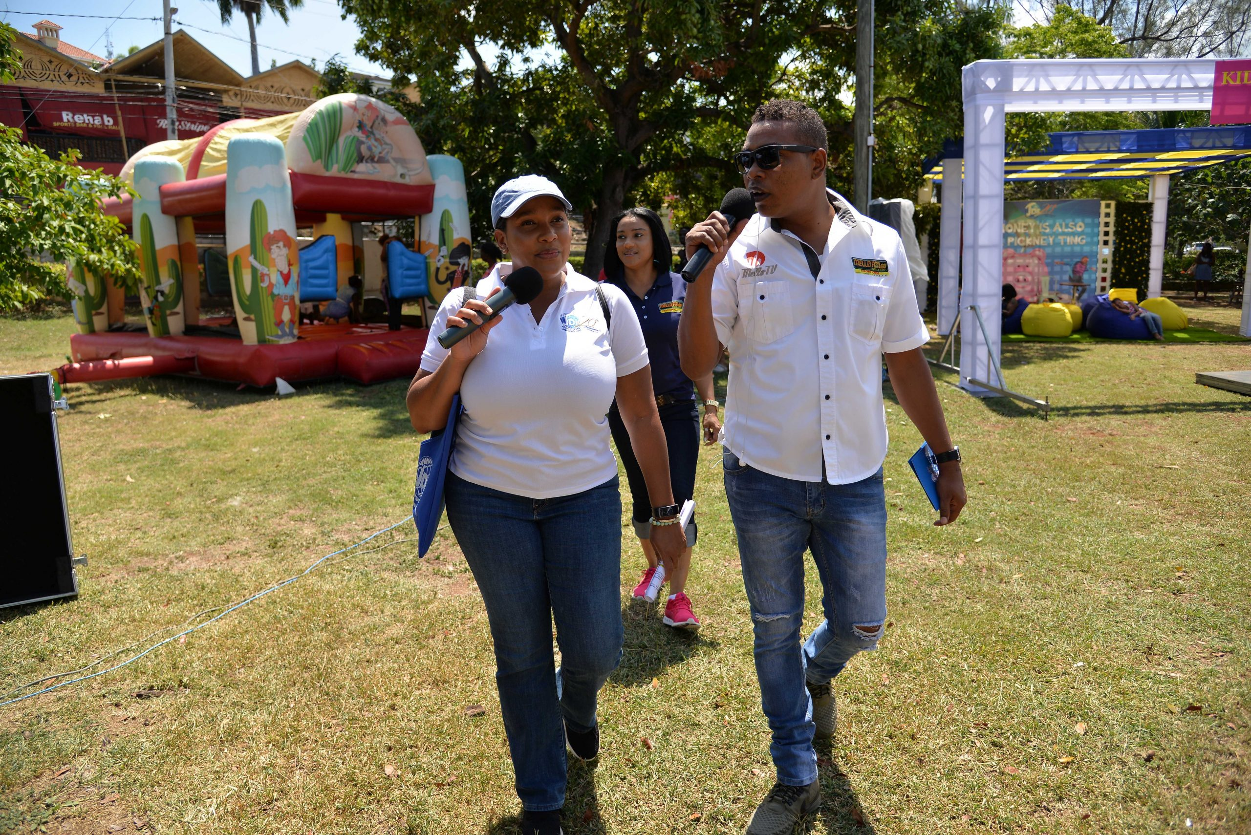 JDIC's Corporate Communications Officer, Kadisha Sharp and Mello Day Break host Ron Muschette taking listeners on a tour of the ground to highlight the activities scheduled throughout the Financial Fair and Public Forum.