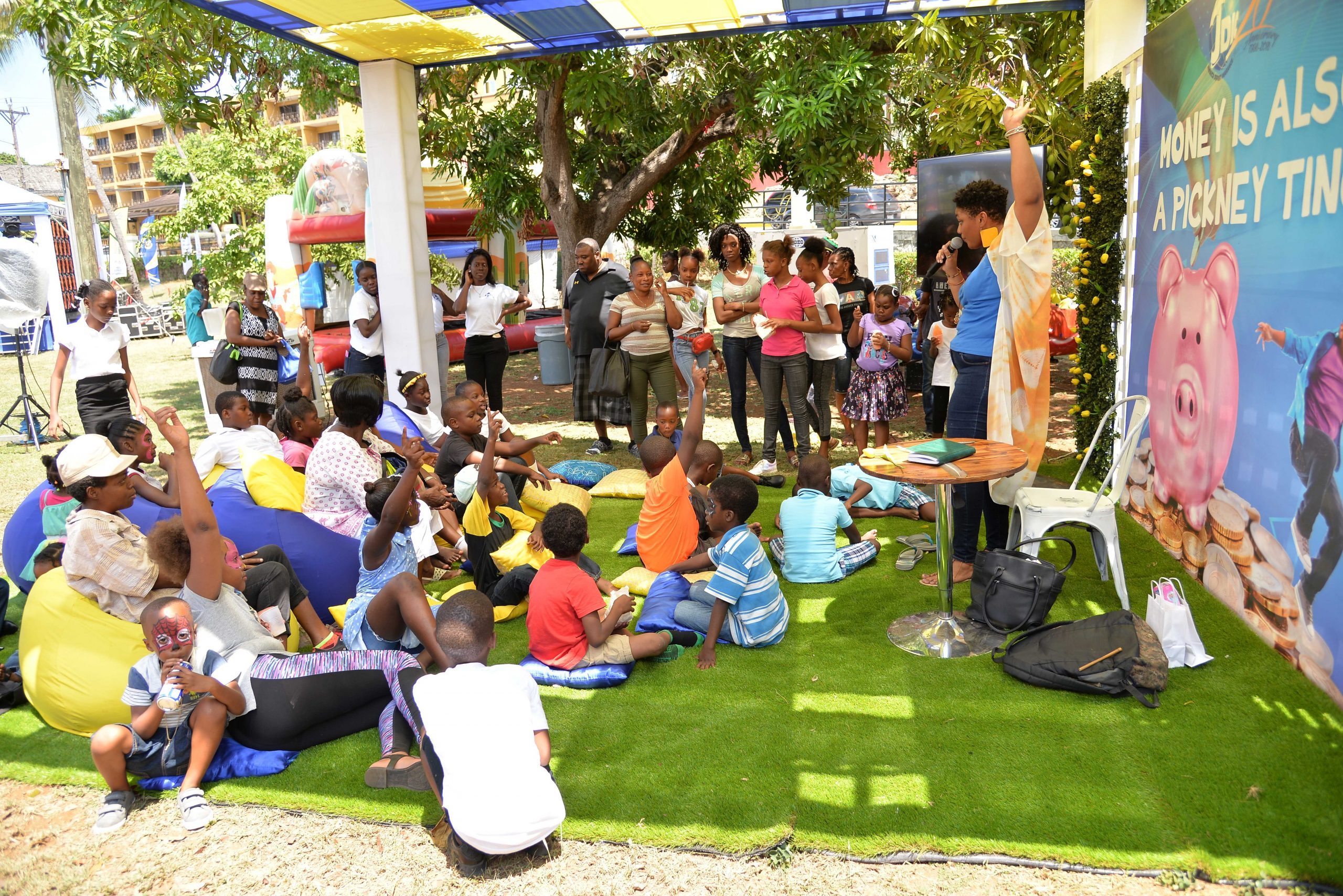 Storyteller Carla Moore takes children and parents through a captivating storytime in the Kiddies Village